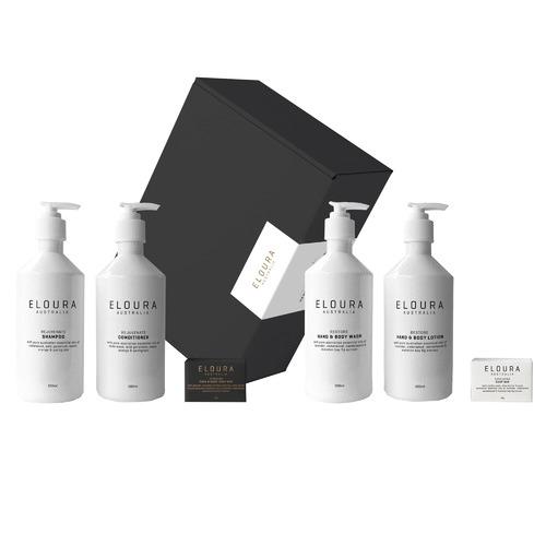 Eloura Australia 6 Piece White Rejuvenate & Restore Premium Bath Dispenser Gift Set