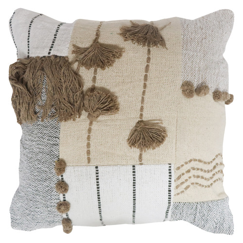 Bohemia & Co Beige & Grey Pom Pom Cotton Cushion