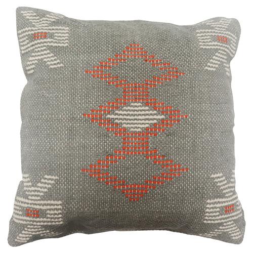 Bohemia & Co Terracotta & Grey Embroidered Cotton Cushion