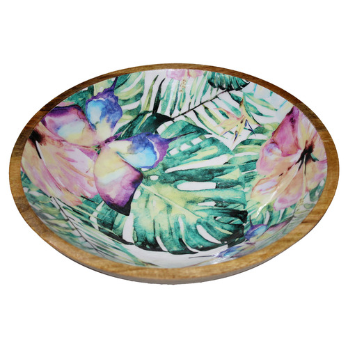 Bohemia & Co Floral 36cm Wooden Salad Serving Bowl