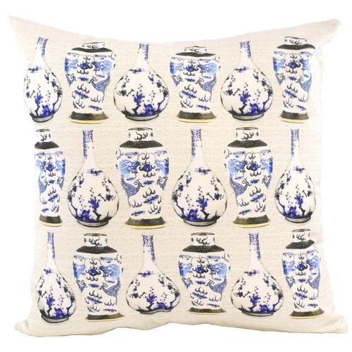Bohemia & Co Blue & White Vase Cotton Cushion