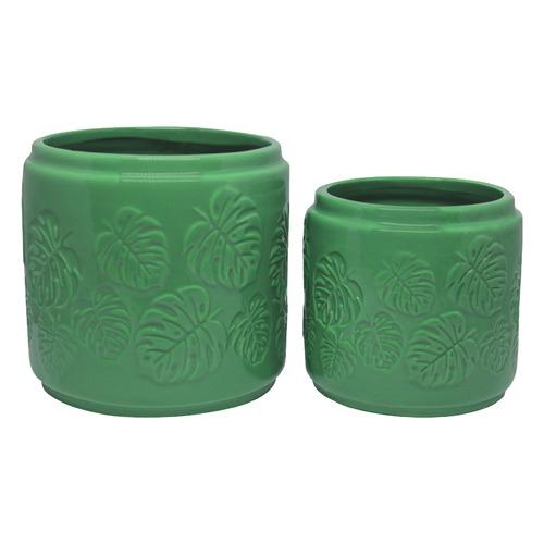 Bohemia & Co 2 Piece Moss Green Ceramic Pot Planter Set