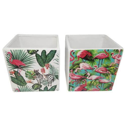Bohemia & Co 2 Piece Bird Ceramic Pot Planter Set