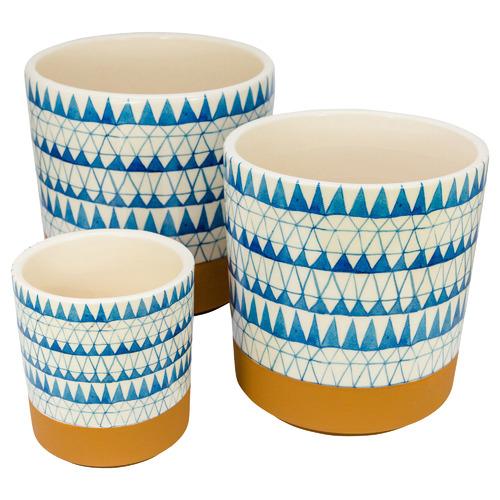 3 Piece Blue & White Aztec Ceramic Pot Planter Set