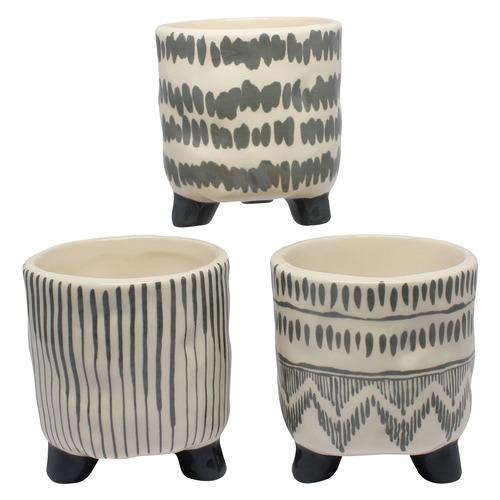 Bohemia & Co 3 Piece Ceramic Pot Planter Set