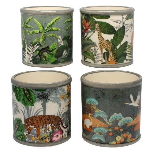 Bohemia & Co 4 Piece Jungle Ceramic Pot Planter Set