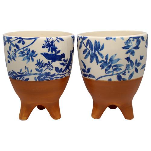 Bohemia & Co 2 Piece Blue & White Palm Ceramic Pot Planter Set