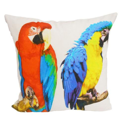 Bohemia & Co Two Bright Parrots Cotton Cushion