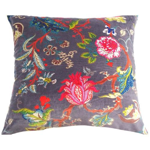 Grey Floral Velvet Cushion
