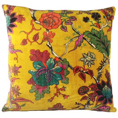 Bohemia & Co Yellow Floral Velvet Cushion