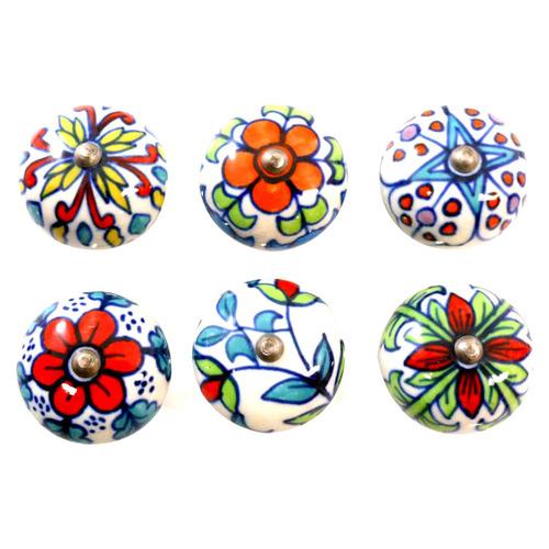 6 Piece Multi-Colour Floral Knob Set