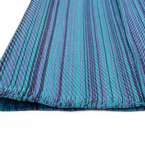 Artisan Decor Blue Chatai Rongoli Reversible Indoor Outdoor Rug