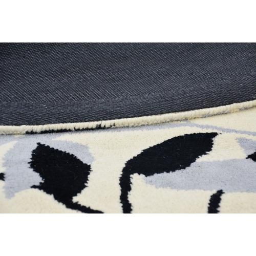 Artisan Decor Blue Leaf Halb Round Wool-Blend Rug