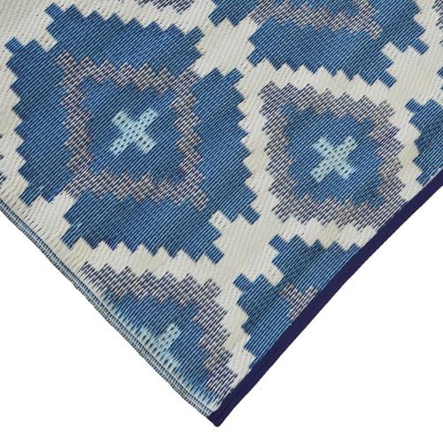 Artisan Decor White & Blue Chatai Classic Outdoor Rug