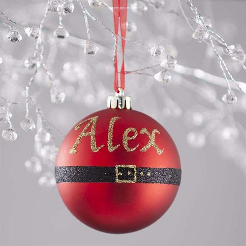 The Personalised Gift Market Santa Belt Hand-Painted Personalised Christmas Bauble