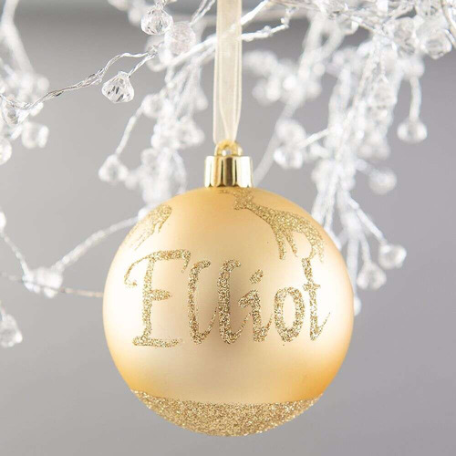 The Personalised Gift Market Reindeer Hand-Painted Personalised Christmas Bauble