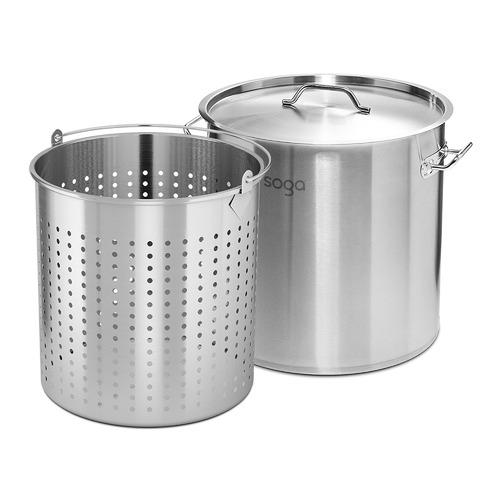 Soga 2 Piece 71L Stock Pot & 50L Pasta Strainer Set