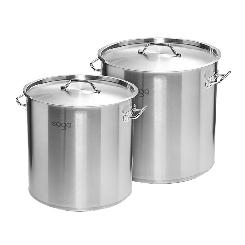Soga 2 Piece Silver 17L & 33L Stock Pot Set