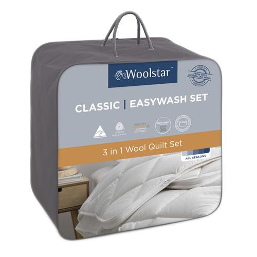 2 Piece Woolstar Easywash Australian Wool All Seasons Quilt Set