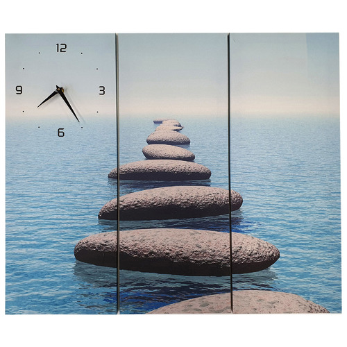 K's Homewares & Decor Pebble Beach Wall Art Triptych with Clock