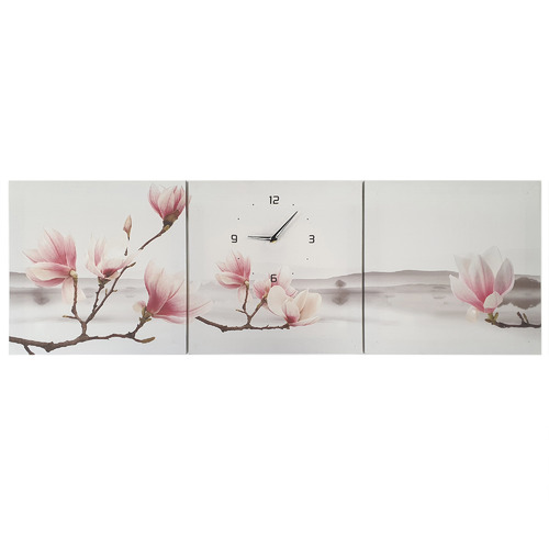 K's Homewares & Decor Magnolia II Wall Art Triptych with Clock