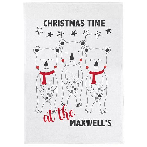 Happy Joy Décor Christmas Bears Personalised Linen-Blend Teatowel