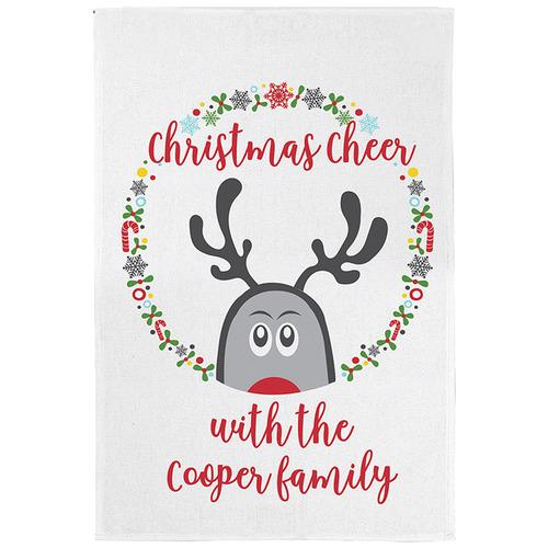 Happy Joy Décor Christmas Cheer Personalised Linen-Blend Teatowel