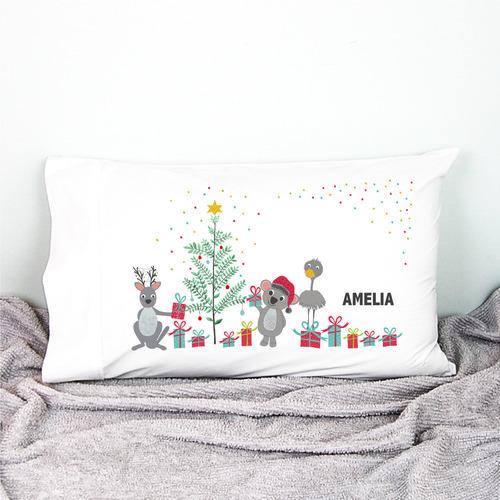 Happy Joy Décor Kids' Aussie Animal Friends Christmas Personalised Cotton Pillowcase