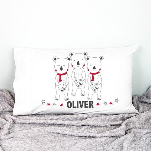 Happy Joy Décor Kids' Christmas Bears Personalised Cotton Pillowcase