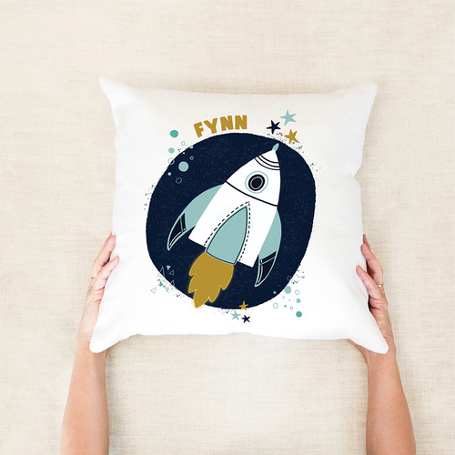 Space Rocket Kids Personalised Cotton Cushion