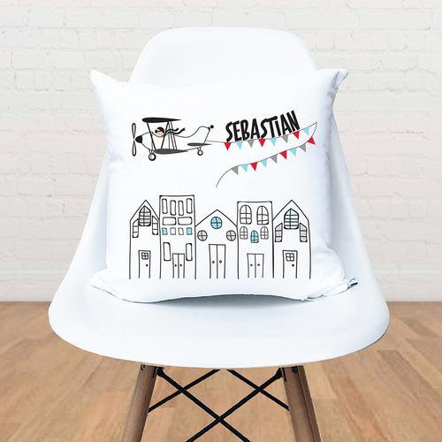Happy Joy Décor Kids' Vintage Plane Personalised Cotton Cushion