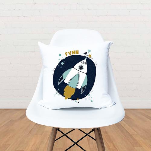Happy Joy Décor Kids' Space Rocket Personalised Cotton Cushion