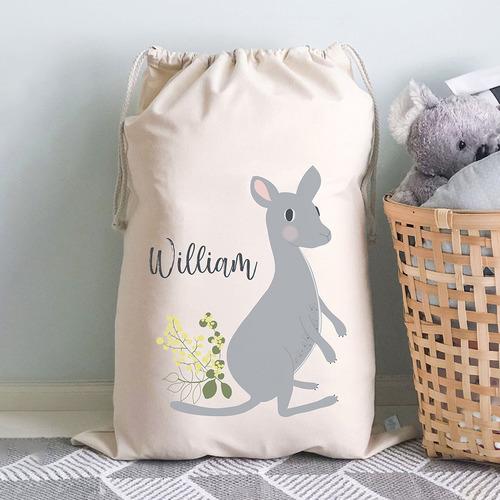 Kids' Kangaroo Personalised Cotton Toy Storage Bag