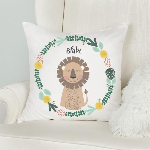 Lion Kids Personalised Cotton Cushion