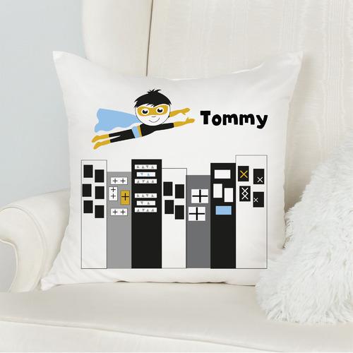 Monochrome Superhero Personalised Cotton Cushion