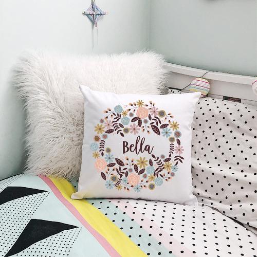 Boho Floral Girls Personalised Cotton Cushion