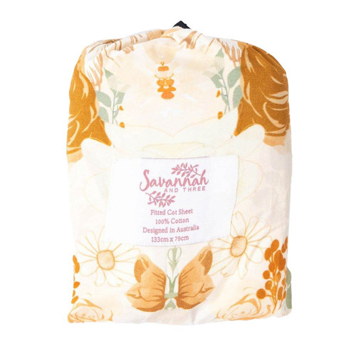 Savannah and Three Retro Flowers Cotton Cot Fitted Sheet