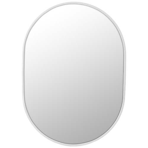 Future Glass White Pill Shaped Stainless Steel Wall Mirror