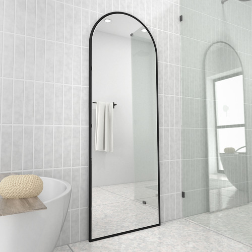 Future Glass Black Arched Stainless Steel Leaner Mirror