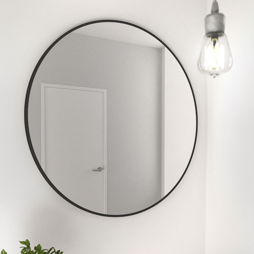 Future Glass Black Round Stainless Steel Wall Mirror