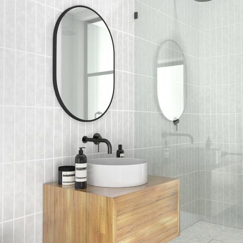 Future Glass Black Pill Shaped Stainless Steel Wall Mirror