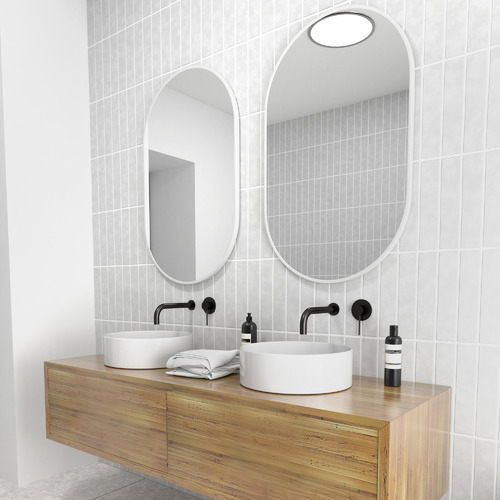 90 x 56cm Pill Shaped Stainless Steel Wall Mirror