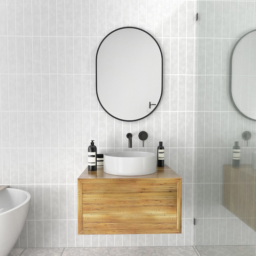 70 x 50cm Pill Shaped Stainless Steel Wall Mirror