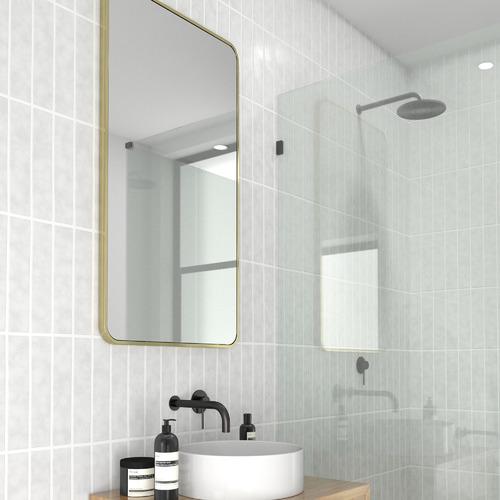 Future Glass Satin Brass Radius Corner Stainless Steel Wall Mirror