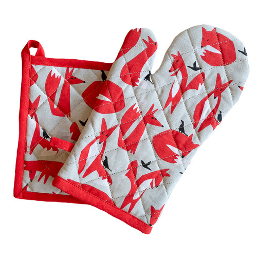 2 Piece Fox Pot Holder & Oven Glove Set