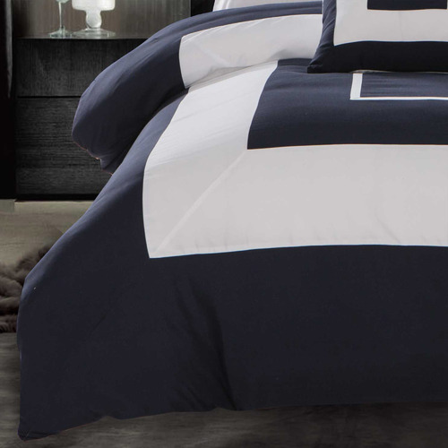 Grey Navy Blue Gabii Quilt Cover Set