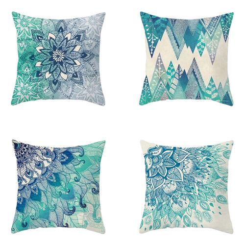 4 Piece Aqua Turquoise Microfibre Cushion Covers