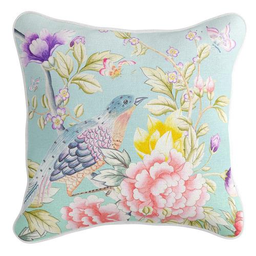 Aqua Oriental Romance Linen-Blend Cushion Cover