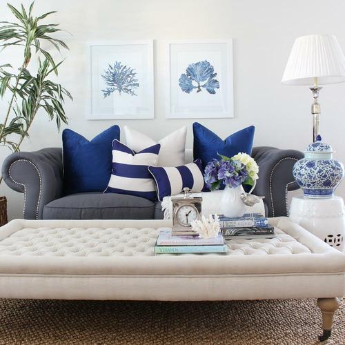 Classic Stripe Linen-Blend Cushion Cover - Navy