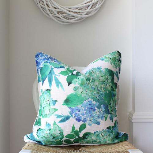 Mia Green & Blue Hydrangeas Linen-Blend Cushion Cover
